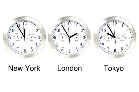 zone: World time. Time in London, New York and Tokyo, three watches isolated on white.