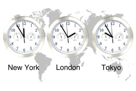 new world: World time zones. Time in London, New York and Tokyo, three clocks against grey world map.
