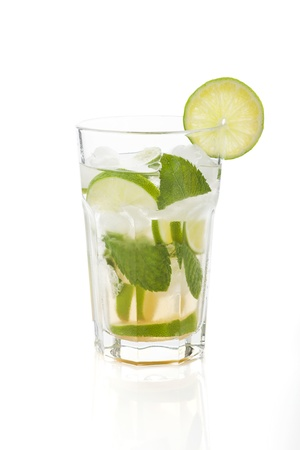 Virgin mojito isolated on white background. Non alcohol cocktail.  photo