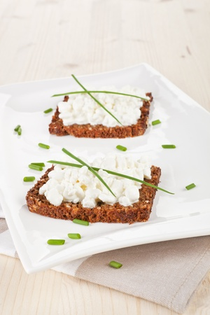 vibrant cottage: Delicious dark bread slices with cottage cheese and fresh herbs on white plate on wooden background. Stock Photo