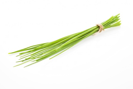 Fresh organic chive bunch bound with brown natural string isolated on white background. Culinary herb concept. Stok Fotoğraf