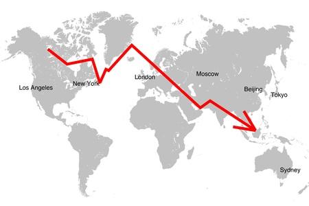 Global market crash. Red falling diagram against world map. Stock Photo - 10222537