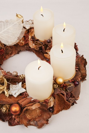 Traditional handmade brown christmas wreath isolated. Traditional christmas concept. photo