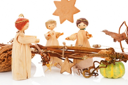 Traditional natural christmas still life. Bethlehem, the birth of Jesus and the three king with star shaped gingerbread cookie in background. Stock Photo - 11214870