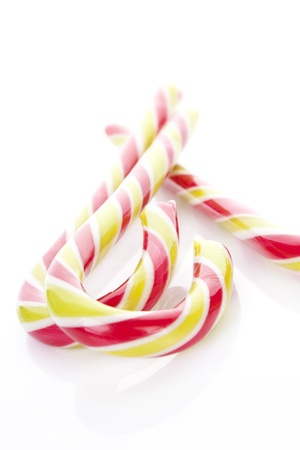 Candy canes isolated on white background. Traditional north american christmas candy. Stock Photo - 11307384