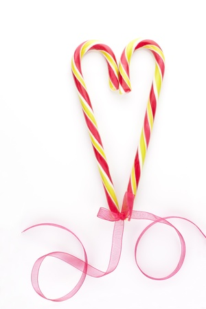 Traditional american candy cane christmas love background with copy space. Xmas candy still life. Stock Photo - 11537132