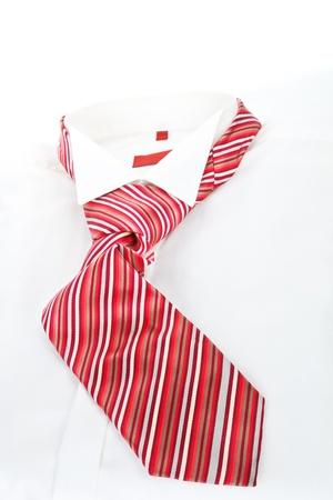 Camisa de vestir blanca con corbata roja. Concepto moderno de negocios simple. Foto de archivo - 11537182