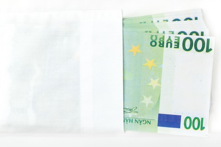 Hundred euro banknotes in white dress shirt pocket. Salary, payday. Employment issues. Stock Photo - 11788836