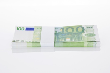 batch of euro: Hundred euro bankontes isolated on white background. European currency.