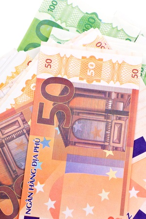 EUR fifty and hundred banknotes background. Fake money.  photo