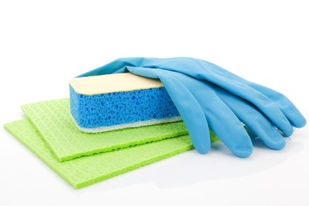 Cleaning equipment - gloves, sponge and rags in green and blue isolated on white background  Purity concept Stock Photo - 12652190