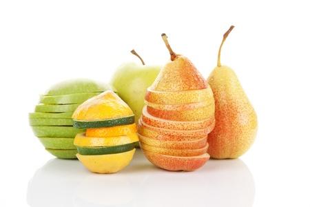 Fresh apples, pears, lime and lemon isolated on white background  Fresh summer fruit background Stock Photo - 14168857