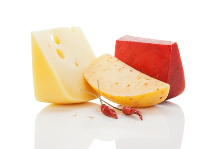 Colorful cheese variation  Gouda chili, leerdammer with chili pepper isolated on white background  Luxurious food background  photo