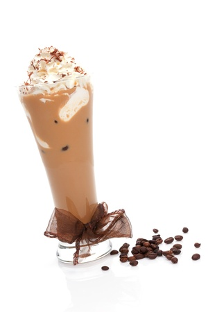 Ice coffee with cream and coffee beans isolated on white background  Refreshing summer drink  photo