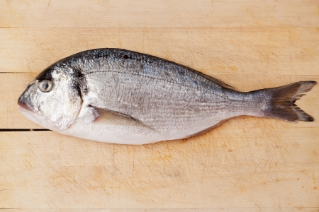 Gilthead bream fish isolated on brown wooden kitchen board. Culinary seafood concept. photo
