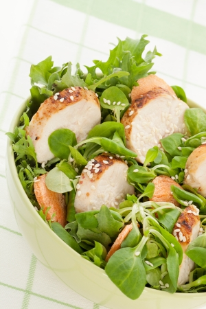 cornsalad: Delicious salad with chicken pieces with sesame  Healthy eating concept