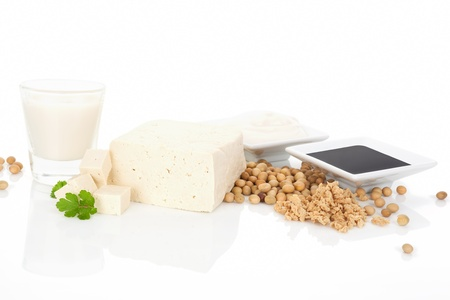 Tofu, soymilk, soybeans, soy granules, soy cream and soy sauce isolated on white background  Soy eating concept