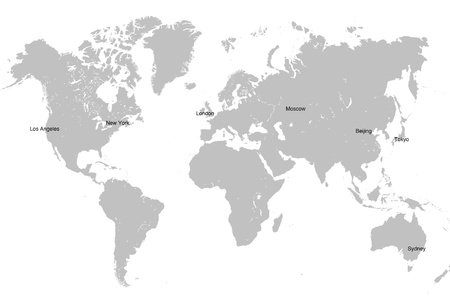 Grey world map isolated on white background with main capital cities  Global business concept