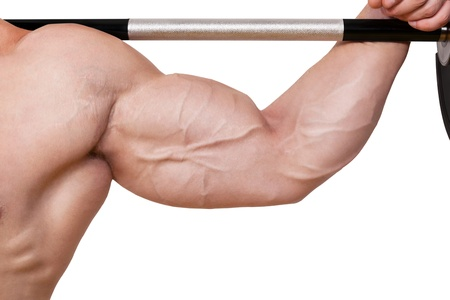 Fitness background  Male caucasian bodybuilder with big biceps holding barbell isolated on white background