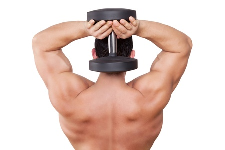 Fitness background  Male caucasian bodybuilder with huge back holding a barbell behind head isolated on white background  Power concept   photo