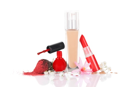Cosmetics For Makeup Isolated On White Background. Feminine beauty concept. Stock Photo - 19624210