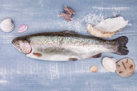 Fresh trout with various seashell and sea salt crystals on blue wooden background photo