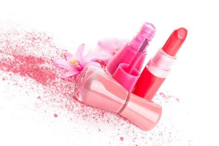 Pink and beige nail polish, ground pink facial powder isolated on white background  Bright girly glamour fashion still life Stock Photo - 20101641