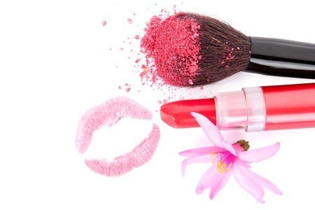 Girly glamour make up and cosmetics  Red lipstick, make up brush with pink facial powder, lips imprint and blossom isolated on white Stock Photo - 20101654