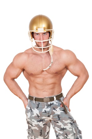 Sexy shirtless caucasian american football player isolated on white background. Muscular Young Man Wearing Helmet. photo