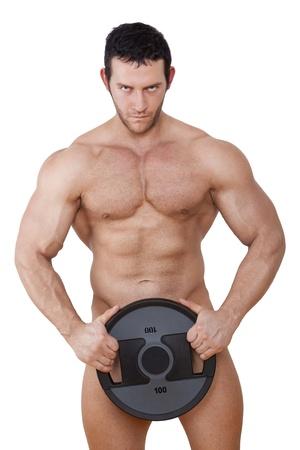 nudo maschile: Modello muscolare sexy peso holding isolato su sfondo bianco con tracciato di ritaglio. Sport e Fitness Sfondo.