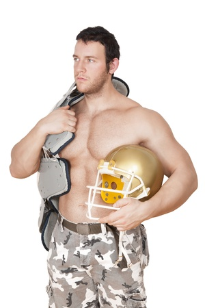 Sexy shirtless muscular american football player posing isolated on white background. Sport and Fitness concept. photo