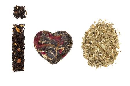 i mate: Traditional tea background. Mate tea, black earl grey tea isolated on white background. I love tea time.