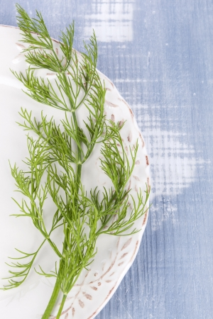 Fresh raw dill on white vintage plate on blue wooden background, top view. Culinary aromatic herbs, country style. Healthy cooking. photo
