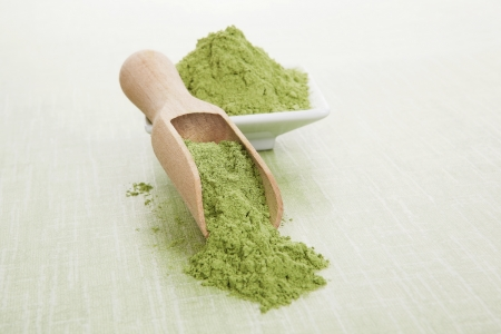 Green superfood. Wheat grass ground on wooden scoop and bowl on green background. Healthy eating and detox. Standard-Bild