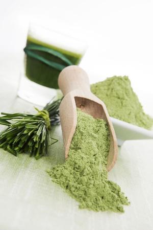 superfood: Luxurious green superfood background. Green juice, spirulina, chlorella, wheat grass and barley grass.  Stock Photo