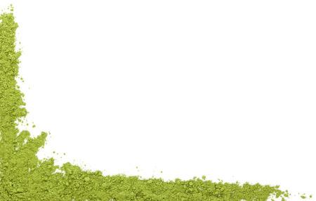 Detox achtergrond met kopie ruimte. Tarwegras poeder op een witte achtergrond, bovenaanzicht met ruimte voor uw tekst. Groene superfood. Stockfoto