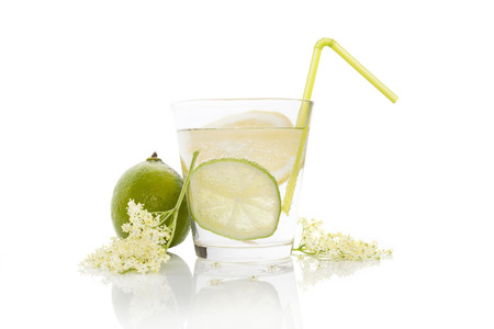regime: Luxurious elderberry lemonade still life. Natural healthy drinking regime.