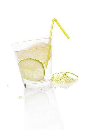 Delicious fresh healthy summer lemonade drinking.  photo