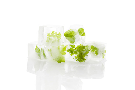 Frozen aromatic herbs in ice cubes isolated on white background with reflection. Culinary fresh cooking.  photo