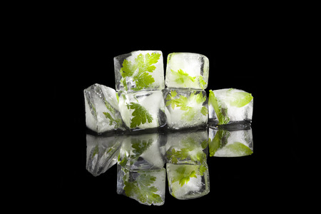 Parsley, basil and lovage leaves frozen in ice cubes isolated on black background. Culinary aromatic herbs. Fresh healthy cooking.  photo