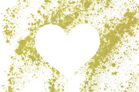 alternative living: Chlorella, spirulina and wheat grass ground powder forming heart shape. Detox, healthy living, alternative medicine.
