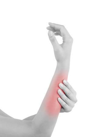 Forearm muscle strain. Female hand touching forearm with highlighted pain area isolated on white background. Stock Photo