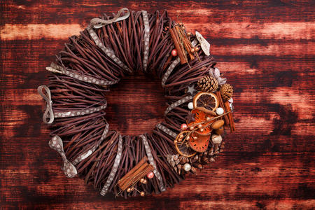 advent wreath: Advent wreath on wooden background with copyspace. Christmas decoration.
