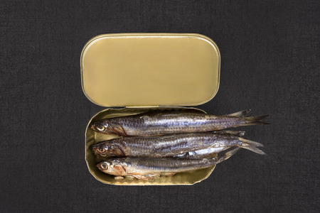 black textured background: Open can with sardines isolated on black textured background, top view. Culinary seafood eating.