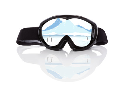 ski goggles: Winter sports season. Ski goggles with beautiful winter arctic landscape reflection isolated on white background. Extreme winter sports.