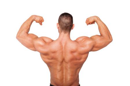 salud y deporte: Culturista muestra el b�ceps sin camisa sexy. Deportes de la salud y fitness.