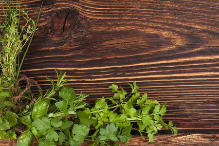 kulinarne: Kulinarne tło zioła z miejsca kopiowania. Zdjęcie Seryjne