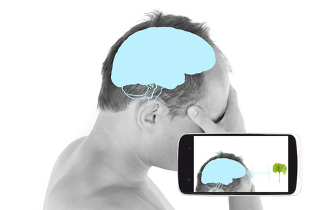 diagnostics: The future of medicine diagnostics. Diagnostics on your smartphone. Handsome guy touching head with brain illustration.