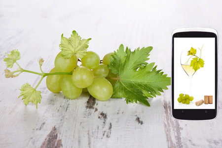 culinary arts: White grapes on wooden background and white wine still life on smartphone screen. Information age and culinary arts. Information at your fingertips.