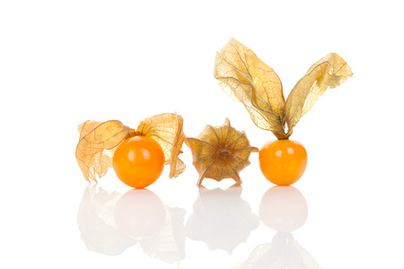 ground cherry: Physalis, ground cherry isolated on white background. Tropical healthy fruit eating. Stock Photo